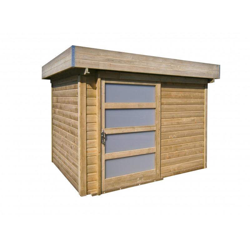 Abris de jardin en bois toit plat, émeraude